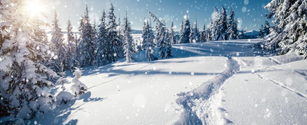 Spuren im Schnee bei Winterwanderung